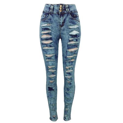 New Women Ripped Jeans Bodycon Denim Destroyed Frayed Hole Zipper Bolsos Casual Calças Calças Azul