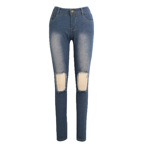 Sexy Frauen Denim Jeans Zerrissene Loch Skinny Hose Washed Distressed Stretch Bleistift Hose Leggings Blau