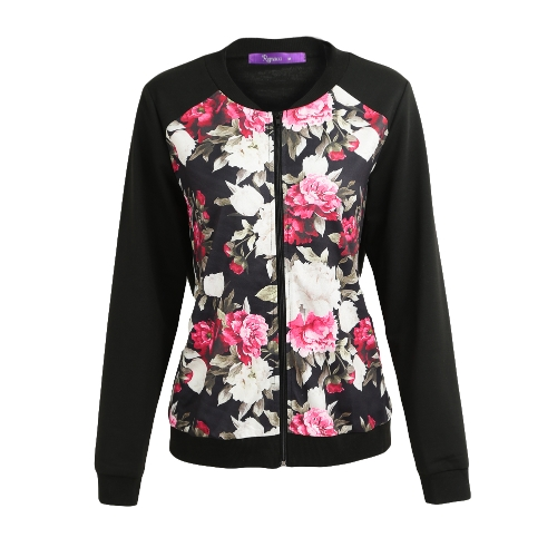 Moda Otoño Invierno Mujeres Chaqueta de la chaqueta de estampado floral con cremallera de manga larga chaqueta de bombardero Streetwear negro