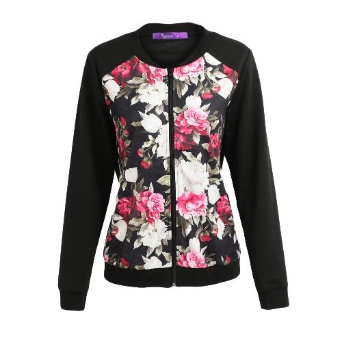 Moda Outono Inverno Mulheres Casaco de impressão floral Casaco Zipper Casaco de manga comprida Casaco de bombas Streetwear Preto