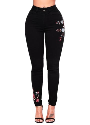 Las mujeres de la vendimia bordado Stretch Jeans botón de cintura alta bolsillos con cremallera flaco lápiz pantalones de mezclilla negro