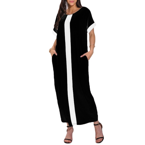 Moda Mulheres Plus Size Contrast Panel T-Shirt Vestido O Neck Short Sleeve Casual Loose Maxi Dress