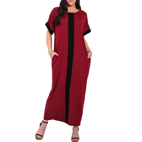 Las mujeres de moda más el contraste del panel del vestido de la camiseta O cuello de manga corta del vestido maxi ocasional flojo