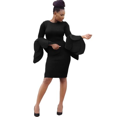 Women Belled Sleeves Bodycon Dress Petals Flared Back Zipper Płaszcza Party Dress