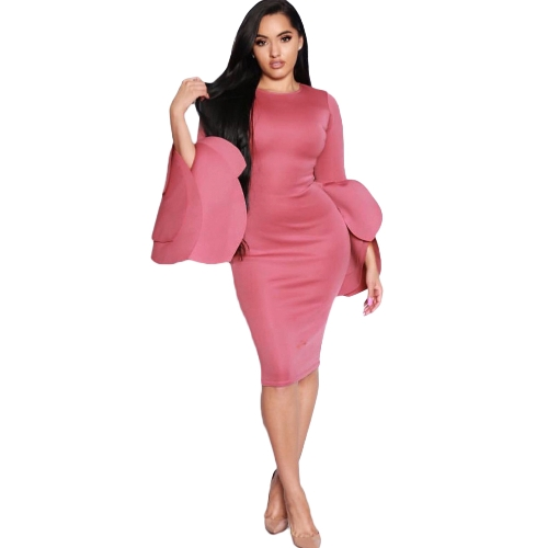 Vestido de fiesta de la envoltura de la cremallera de la parte posterior de la cremallera de las mujeres Belled Sleeves Bodycon Dress
