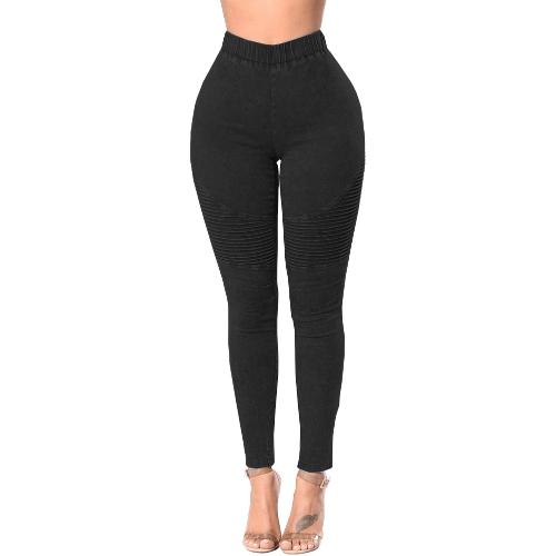 Kobiety Skinny Jeans Denim High Waist Elastic Washed Ruched Skinny Ołówek Spodnie Rajstopy Leginsy