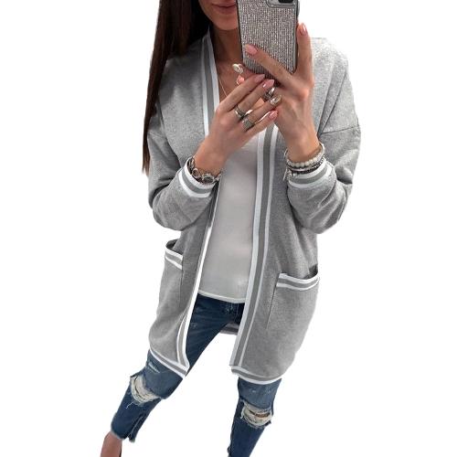 Nuevas mujeres Cardigan Poncho Plus Size Coat Thin Kimono Manga larga Bolsillos Suelto Outwear