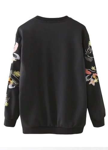 New Women Sweatshirt Floral Bird Embroidery Long Sleeves O-Neck Casual Elegant Pullover Top Sweater