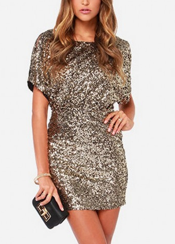 Sexy Women Sparkling Sequin Dress Split O-Neck Short Sleeves Bodycon Nightwear Cocktail Evening Party Mini Dresses