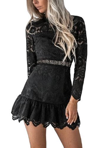 New Women Dress Lace Hollow Out Mangas compridas O-Neck Elegant Mini Evening Party Slim Dresses