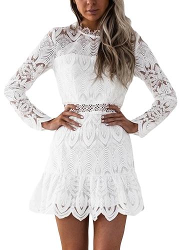 Vestido de las nuevas mujeres del cordón ahueca hacia fuera las mangas largas del o-cuello Elegante mini vestidos de fiesta de la tarde delgados