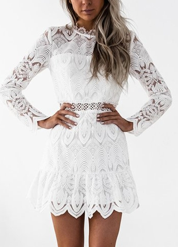 Women Dress Lace Hollow Out Long Sleeves O-Neck Elegant Mini Evening Party Slim Dresses