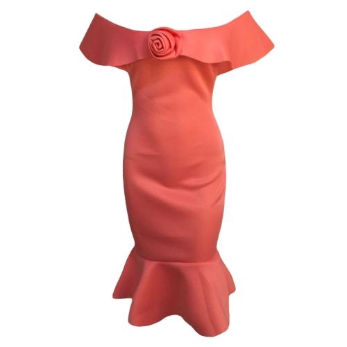 Vestido de mujer con hombros descubiertos 3D Rose Peplum Hem Slash Neck Nightclub Party Vestido ajustado a media pierna verde / rojo