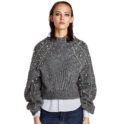 Suéter flojo cosechado de las mujeres Faux Pearls Beadings cuello redondo manga larga acanalado jersey ocasional