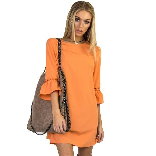 Las mujeres de la manera Mini vestido O cuello 3/4 Flare manga ahueca hacia fuera el vestido de fiesta ocasional del color sólido