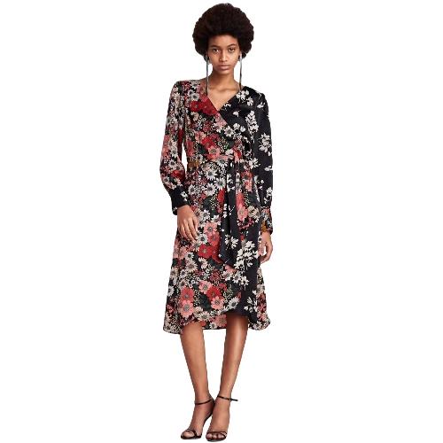 Frauen Chiffon Blumenkleid Kimono Cardigan Sash V-Ausschnitt Langarm Boho Cover Up Belted Midikleid