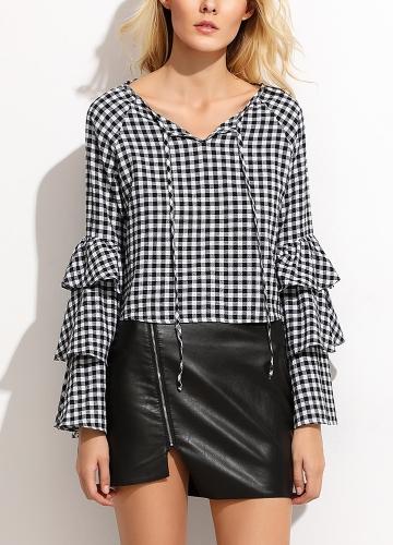 Frauen Plaid Bluse Top Rüschen mit langen Ärmeln V-Ausschnitt elegante Casual Shirt schwarz