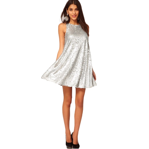 Sexy Women Silver Sequin Swing Dress O Neck Sleeveless 1920's Evening Party Club Mini Dress Silver