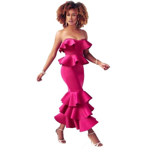 Mujeres atractivas elegantes volantes sin tirantes vestido Bardot cuello fuera del hombro volantes dobladillo Celebrity vestido bodycon