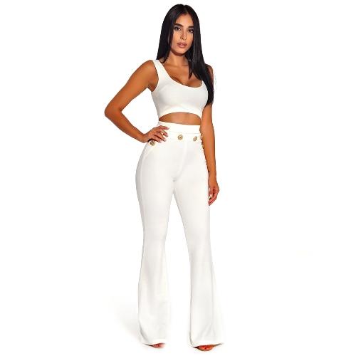 Nuevo botón de mujer Sexy Bodycon campanas de cintura alta acampanada Buttom pierna ancha Slim Casual pantalones largos