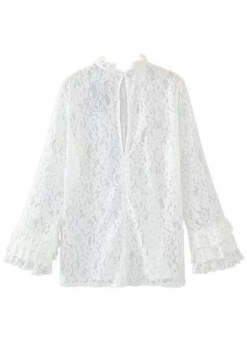 Camisa de la blusa de encaje floral de las mujeres volantes de manga larga ahueca hacia fuera escarpado suelta Tops casuales camiseta