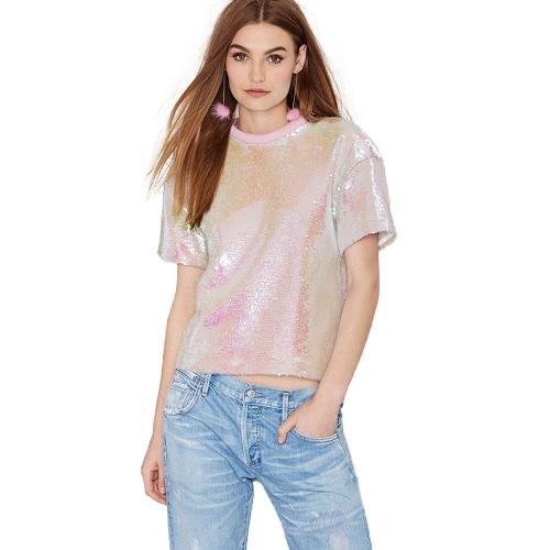 T-shirt con paillettes da donna o collo manica corta con maniche corte e maniche corte Tops casual