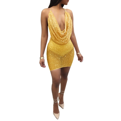 Sexy Women Sequin Glitter Bodycon Dress Sheer Mesh Sleeveless Backless Night Party Dress Clubwear