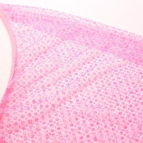 Sexy Women Sequin Glitter Bodycon Dress Sheer Mesh Sleeveless Backless Night Party Dress Clubwear