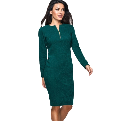 New Women Solid Dress Long Sleeve Front Zip Up Elegant Party Pencil Mini Bodycon Dress Verde / Cinza / Vermelho