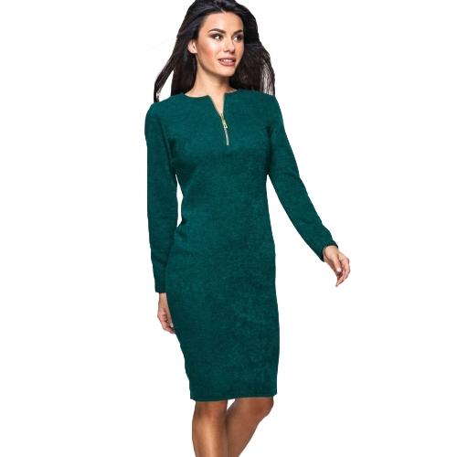 Nowa damska jednoczęściowa sukienka z długim rękawem z przodu na zamek w górę Elegancka strona ołówkowa mini sukienka Bodycon w kolorze zielonym / szarym / czerwonym