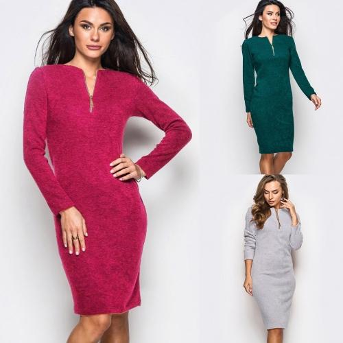 Платье с длинным рукавом с длинным рукавом с длинным рукавом для женщин с длинным рукавом Элегантное платье для мини-куртки с карандашом для вечеринок Green / Grey / Red фото