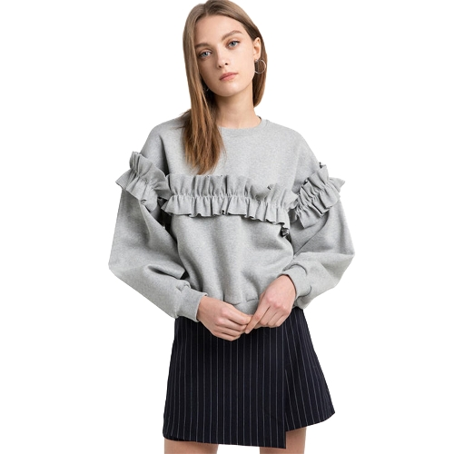 Women Loose Sweatershirt Solid Color Ruffle Round Neck Long Sleeve Casual Autumn Winter Fleece