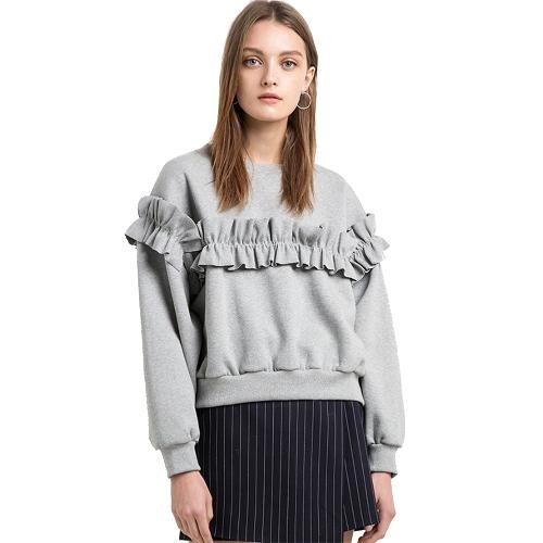 女性のルースセーターシャツソリッドカラーフリルラウンドネックロングスリーブカジュアル秋冬フリース