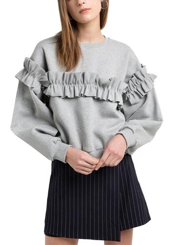 TOMTOP / Mulheres Loose Sweatershirt Ruffle de cor sólida Round Neck manga comprida casual Outono Inverno Fleece