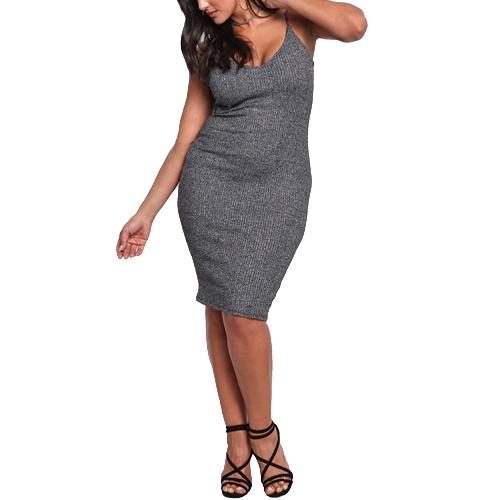 Sexy kobiet duży rozmiar dzianiny Slip Dress V Neck bez rękawów Solid Slim Bodycon Plus rozmiar Knitting Dress Grey / Pink
