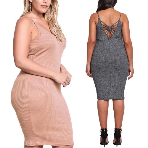 Sexy Women Large Size Knitted Slip Dress V Neck Sleeveless Solid Slim Bodycon Plus Size Knitting Dress Grey/Pink