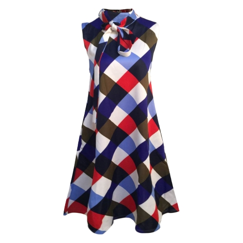 New Women Plus Size Loose Dress Plaid Print sem mangas Bow Casual Party Mini Tank Dresses
