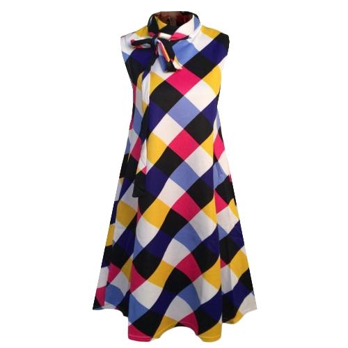 Nuevas mujeres más el tamaño del vestido suelto con estampado de cuadros sin mangas del arco partido casual mini vestidos del tanque