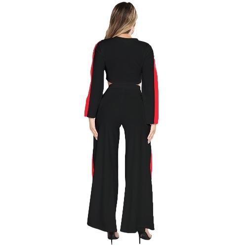 Новые моды 2 шт одежды Установить женщин обруча верхней и боковой сплит штаны костюм женский сексуальный костюм черный / белый