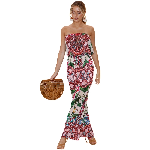 Women Jumpsuit Floral Print Off Rompers na ramiona Backless Boho Loose Playsuit Pink