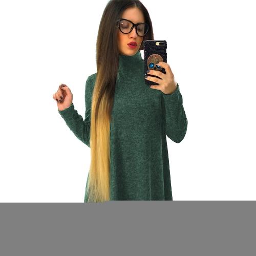 Camiseta de las mujeres Vestido de color sólido de cuello alto Manga larga A-Line Flare Mini Básico Casual de una pieza