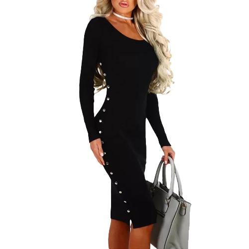 Otoño invierno Sexy Bodycon vestido remache sólido paquete de manga larga Hip Mini vestido negro