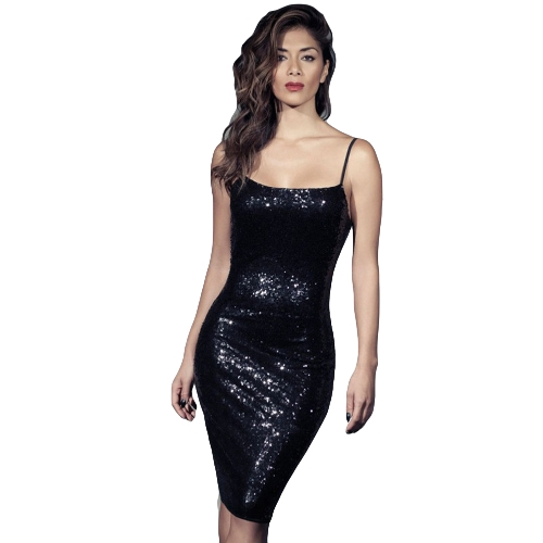 New Sexy Women Bodycon Spaghetti Strap Sequins Dress Backless Night Club Party Sparkle Dress Black