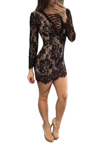 Vestido de encaje de mujer sexy con cuello en V profundo entrelazado Vestido de manga larga delgado con cuello engastado mini negro / blanco