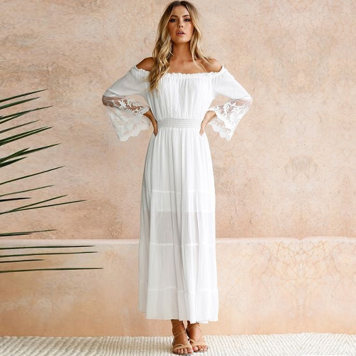 Sexy Women Maxi Long Dress Off the Shoulder Lace Flare Sleeve Elegant Evening Party Boho Dress White