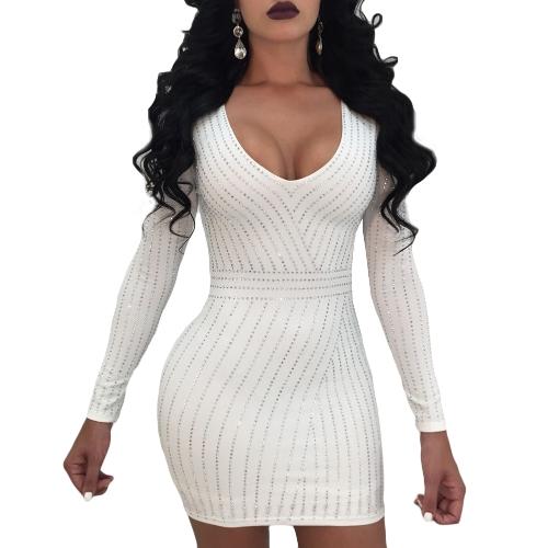 Vestido ajustado de las mujeres atractivas Rhinestone cuello redondo manga larga ropa de noche fiesta de noche Mini Vestidos