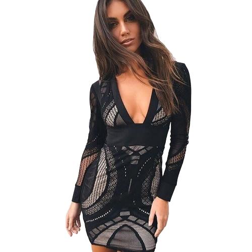 Vestido de malla de las mujeres ahueca hacia fuera el vestido de fiesta ocasional del bodycon de la manga larga con cuello en V profundo negro / blanco