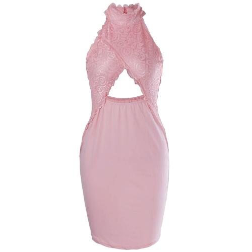 Nuevas mujeres atractivas Crochet Lace Cross Bodycon frente Vestido de cuello alto Hollow Out Evening Party Club Midi Dress