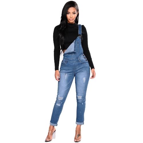 Mujeres de moda Denim Overol Ripped Stretch Dungarees cintura alta pantalones vaqueros largo lápiz pantalones mamelucos mono azul