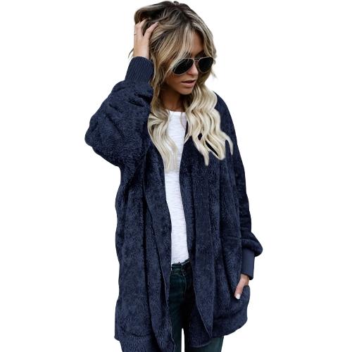 Frauen Hooded Long Coat Jacke Hoodies Cardigan Kunstpelz Fleece Open Front Pockets Outwear Lässige Mäntel